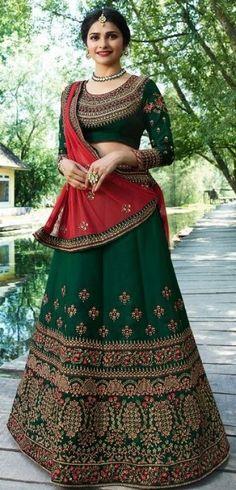 Prachi Desai Pine Green Silk Lehenga Choli with Net Dupatta Bridal Lehenga Online, Lehenga Choli Online, Bridal Lehenga Choli, Silk Lehenga, Anarkali, Lehga Choli, Bollywood Lehenga, Lehnga Dress, Indian Lehenga