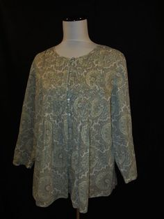 Talbots size Large Blouse Top Teal Green Paisley Cotton Peasant Boho Loose Fit #Talbots #Blouse #Casual