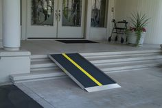The PATHWAY® LITE wheelchair ramp is a secure solution for temporary or semi-permanent home access. Ramp features a solid, seamless design, making it ideal for use with scooters, wheelchairs, and walkers.