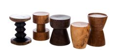 African Hardwood Stools  African Home Decor - sourced from Mozambique each stool is unique according to the different wooden stumps obtained and have their own natural edges and characters.  Names & Specie of Wood from L – R: Zigzag =Panga Panga:  Bobbin= Wild Mango: Goblet= Panga Panga: Drum= Wild Mango and V-shape= Wild Mango (Please see Wave stool next image) Sizes: approx 400mmH x 300mm diam.  We require a minimum purchase of 2 stools per order in any combination of our designs.