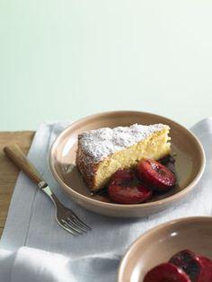 almond lemon cake with roasted plums.