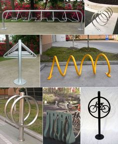 A whole bunch of different bike racks that we can add to the playground.