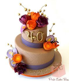 Jennifer's 40th Birthday Cake- I just love these colors