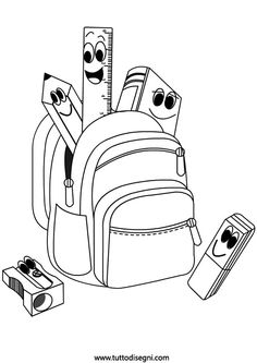 backpack coloring page School Coloring Pages, Colouring Pages, Coloring Sheets, Pre School, School Bags, Back To School, Inside Out Coloring Pages, Coloring Pages For Kids, School Clipart