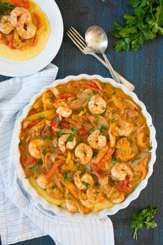 Delicious shrimp and peppers on creamy polenta