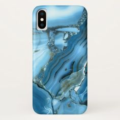 Deep Blue Marble iPhone X Case - blue gifts style giftidea diy cyo