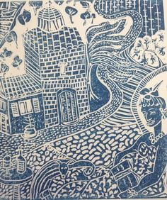 My own linoprint of Skopelos in Greece, where I did a fabulous printmaking course with Basil Hall.....