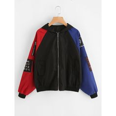 SheIn(sheinside) Contrast Sleeve Patch Detail Zip Up Jacket ($23) ❤ liked on Polyvore featuring outerwear, jackets, multi color, zip up jackets, hooded jacket, block jacket, multi colored jacket and collar jacket