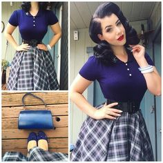 """""""Yesterday's outfit details     top from @collectifclothing, skirt from @curvycouturebyjudyd, belt from @pinupgirlclothing, bangles and belt are…"""""""
