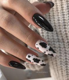 Cow print nails - unhas de vaca - inspiração de esmaltadas - nail art Acrylic Nails Coffin Short, Simple Acrylic Nails, Best Acrylic Nails, Acrylic Nail Designs, Best Nail Art, Edgy Nails, Grunge Nails, Funky Nails, Swag Nails