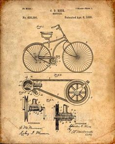 Impresión de patente de una bicicleta patente impresión del