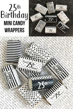 Black And White 25th Birthday Party Mini Candy Bar Wrappers Parties