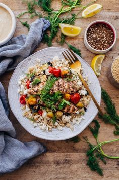 Za'atar Grilled Chicken Bulgur Bowls with Tahini Sauce - grilled chicken is…