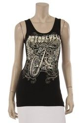 Tank top, motorcycle bling with rhinestones, a Go Brazen favorite
