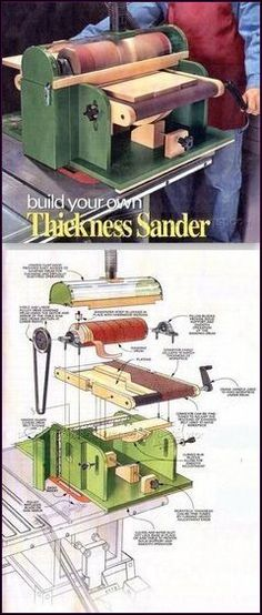 DIY Thickness Sander Sanding Tips Jigs and Techniques WoodArchivistcom Woodworking Workshop, Easy Woodworking Projects, Woodworking Tools, Wood Projects, Woodworking Jigsaw, Woodworking Furniture, Woodworking Techniques, Sanding Tips, Wood Jig