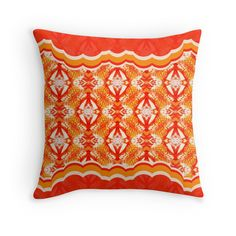 """""""Drawing - a pattern """"An orange mix"""""""" Throw Pillows by floraaplus 