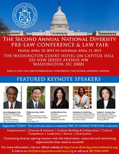 5 Awesome Keynote Speakers confirmed for the National Diversity Pre-Law Conference 2015. Get to know the speakers! http://www.diversityprelawconference.org/keynote-speakers/