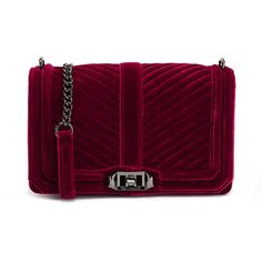 Rebecca Minkoff Soft Berry Quilted Love Crossbody Bag (17995 RSD) ❤ liked on Polyvore featuring bags, handbags, shoulder bags, red, purple handbags, red purse, quilted purses, purple purse and red handbags