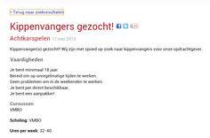 Vreemde vacature - Kippenvangers gezocht!