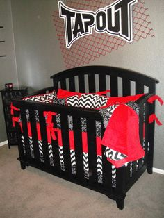 YOU DESIGN Custom 3 piece Crib Bedding Set - Bumper, Skirt and Sheet - Red, Black and White on Etsy, $295.00