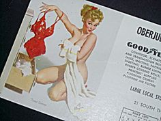 Elvgren Pin Up Calendar Blotter, July 1957