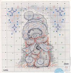 Вышивка. Мишка Тедди зимой.