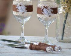 El Sr. y la Sra. gafas y pastel cuchillo por RedHeartCreations