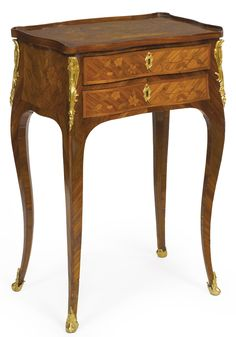 A Louis XV ormolu-mounted tulipwood and marquetry table à écrire circa 1750, stamped Delorme
