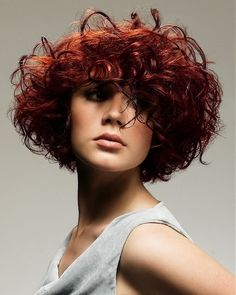 curly bob colored hairstyles red color❤❤