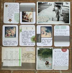 great arrangement of journaling and photos; cute blue label on the B&W; photo with borders; washi tape; half photo with white borders;