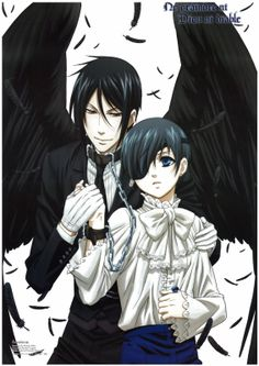 Sebastian Michaelis, Ciel Phantomhive. <^> This anime right here. Ths anime saved me. You guys always wonder why I love it so much? Not just for the graphics and story. But also, because t saved my life.