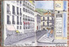 Urban Sketchers Portugal: Pela Rua Garrett abaixo...