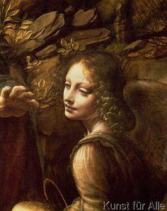Leonardo da Vinci - The Virgin of the Rocks  detail of the angel, c.1508  (detail of 28916)