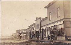 RP, Main Street, Showing Pool Room, Post Office, General Merchant, Cabri, Saskatchewan, Canada, 1900-1910s