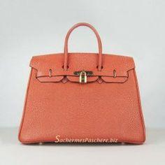 Sacs Hermès Pas Cher Birkin 35cm Pearl Veins Cuir Sac Orange 6089