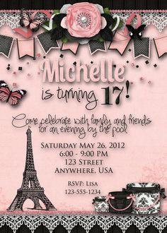 Paris Theme Birthday Party Invitation by DecidedlyDigital on Etsy