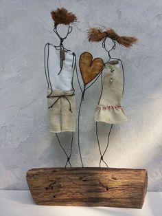 Driftwood sculpture Gift him Anniversary gift Gift for her Wire Art Sculpture, Driftwood Sculpture, Wire Crafts, Diy And Crafts, Arts And Crafts, Metal Art, Wood Art, Sculptures Sur Fil, Junk Art