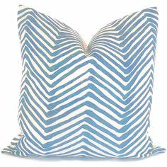 Light Blue Zig Zag Quadrille Pillow Cover Square by PopOColor