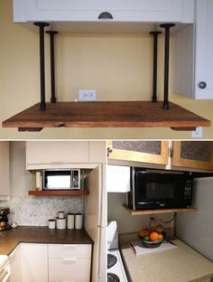 No space to place your microwave? Please consider the space under the cabinets and front of backsplash. Set up sturdy brackets that let you mount the microwave under cabinets Home Decor Kitchen, Diy Kitchen, Diy Home Decor, Kitchen Design, Home Remodeling Diy, Home Renovation, Kitchen Remodeling, Microwave Under Cabinet, Mounted Microwave