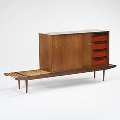 Milo Baughman, Cabinet and Bench for Glenn of California, c1950.