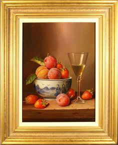 Raymond Campbell, Original oil painting on panel, Summer Fruits