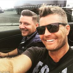 Dynamic duo: MKR judges Pete Evans and Manu Feildel were too cool for the kitchen on Friday as they cruised around town together ahead of filming for the new season of their reality show Pete Evans, My Kitchen Rules, Male Eyes, New Haircuts, Hair Cuts, Mens Sunglasses, Celebs, Guys, Film