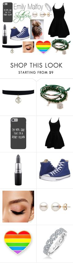 """Introduce Your Character: Emily Malfoy"" by x-emily-herondale-x ❤ liked on Polyvore featuring Disney, WithChic, MAC Cosmetics, Converse, Avon and Karl Lagerfeld"