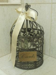 antique birdcage for gift cards.. so cute