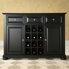 Crosley Alexandria Buffet Server / Sideboard Cabinet With Wine Storage In  Black     Sideboards U0026 Buffets   Kitchen And Dining   Furniture