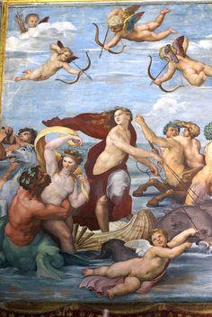 Rom, Via della Lungara, Villa Farnesina, Der Triumph der Galatea von Raffael, Ausschnitt (Triumph of Galatea by Raphael, detail)