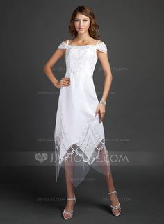 A-Line/Princess Off-the-Shoulder Tea-Length Satin Tulle Wedding Dress With Beading (002015354) - JJsHouse
