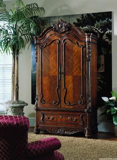 Elegant Wardrobe Design With Artistic Lacquer Wood Carvings Mixed With Red Sofa And Crea Fur Rug Cover The Floor Including Plants Beside Wardrobe As Well Blind Curtain Window Breathtaking Modern Wardrobe Design for Elegant Throwing for Your Room Furniture