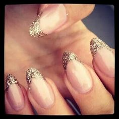 Glitter tipped manicure nails