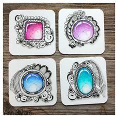4 Bijous with Gems Prismacolor pencils  Tangle;  Flux * Caviar * Tortuca * Black Pearl * Scallops